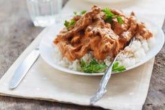 Besegra ris med nötköttstroganoff på en vit platta royaltyfri fotografi
