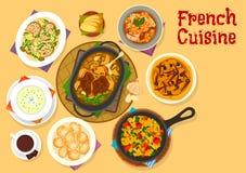 Besegrar den berömda matställen för fransk kokkonst symbolsdesign stock illustrationer