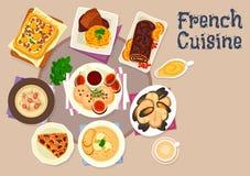 Besegrar den festliga matställen för fransk kokkonst symbolsdesign royaltyfri illustrationer