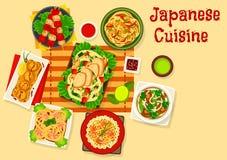 Besegrar den havs- matställen för japansk kokkonst symbolen vektor illustrationer