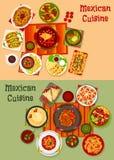 Besegrar den nationella matställen för mexicansk kokkonst symbolsuppsättningen stock illustrationer