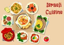 Besegrar den traditionella matställen för israelisk kokkonst symbolen stock illustrationer