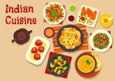 Besegrar den vegetariska matställen för indisk kokkonst symbolen stock illustrationer