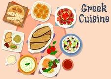 Besegrar smaklig lunch för grekisk kokkonst symbolen vektor illustrationer