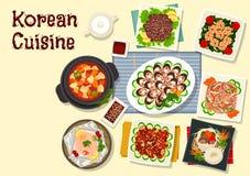 Besegrar traditionell bbq för koreansk kokkonst symbolen vektor illustrationer