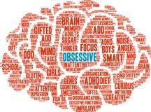 Besessene ADHD-Wort-Wolke Stockfotos