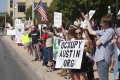 Besetzen Sie Austin - 15. Oktober-Demonstrationszug Lizenzfreie Stockbilder