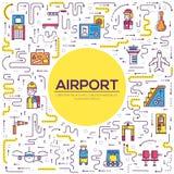 Besetzen Sie das Bearbeiten und das Registrieren von Leuten und von Gepäck im Flughafendesign mit Personal Passlinie Vektorillust vektor abbildung