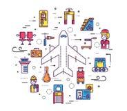 Besetzen Sie das Bearbeiten und das Registrieren von Leuten und von Gepäck im Flughafendesign mit Personal Passlinie Vektorillust lizenzfreie abbildung