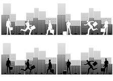Besetzte Geschäftsmänner in der Stadt vektor abbildung