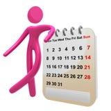 Besetzte Ikone des Piktogramms 3d mit Zeitplankalender Lizenzfreies Stockbild
