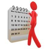 Besetzte Ikone des Piktogramms 3d mit Zeitplankalender Stockfotografie