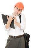 Besetzter Geschäftsmann in seinem Sturzhelm Lizenzfreies Stockfoto