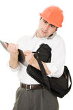 Besetzter Geschäftsmann in seinem Sturzhelm Stockfoto