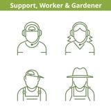 Besetzungsavatara eingestellt: Stützbetreiber, Arbeiter, Gärtner lizenzfreie abbildung