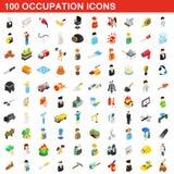 100 Besetzungsikonen eingestellt, isometrische Art 3d Stockfotos