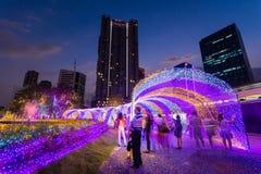 Besichtigende multi Farben LED der Leute verzierten öffentlich Park Stockfotos