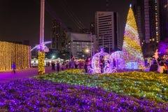 Besichtigende multi Farben LED der Leute verzierten öffentlich Park Lizenzfreies Stockfoto