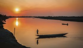 Besides the Mighty Brahmaputra River of India. stock image