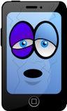 Besiegte Karikatur Smartphone Lizenzfreie Stockfotografie