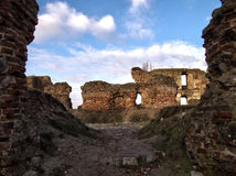 Besiekiery village and castle ruins Polish Royalty Free Stock Images