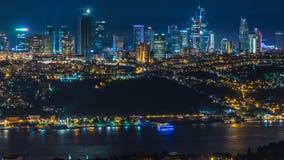 besiktas区夜timelapse顶视图在从城市的亚洲部分采取的伊斯坦布尔 股票视频