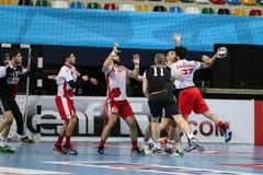 Besiktas MOGAZ HT and Dinamo Bucuresti Handball Match Stock Image