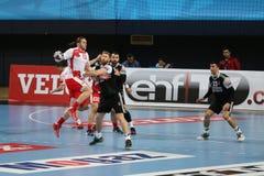 Besiktasmogaz HT en het Handbalgelijke van Dinamo Bucuresti Stock Afbeeldingen