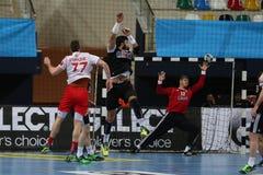 Besiktasmogaz HT en het Handbalgelijke van Dinamo Bucuresti Stock Foto's