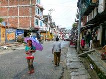 Besisahar在雨中,尼泊尔 免版税图库摄影