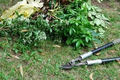Beskära loppers för att arbeta i trädgården och stapel av leaves arkivfoto