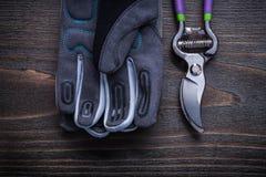 Beskära skyddande handskar för sax på den wood brädeagricultuen för tappning Royaltyfri Fotografi