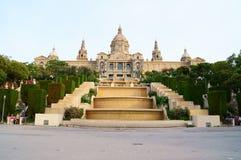 Beskåda av den kungliga slotten i Barcelona Arkivbild