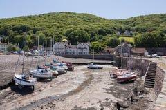 Beskåda av den Porlock weiren och hamnen i Devon UK Royaltyfri Fotografi