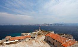 Beskåda av Marseille (Frankrike) från om ön. Royaltyfria Bilder