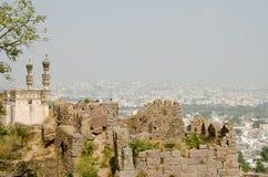 Moské på den Golcanda forten, Hyderabad Arkivbilder