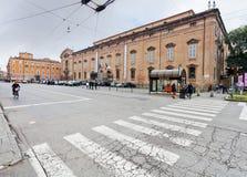 Beskåda av museumslott från kvadrerar Largo Porta Sant'Agostino Arkivbilder