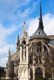 Springbrunn av oskulden och Notret Dame de paris Fotografering för Bildbyråer