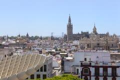 Beskåda av Seville från den Metropol ett slags solskydd royaltyfria foton