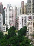 Skyskrapor bak en parkera av Hong Kong Royaltyfri Fotografi