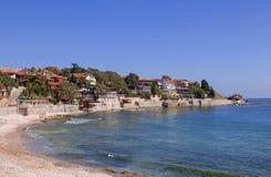 Beskåda av staden gammala Nessebar och havet Arkivbild