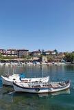 Beskåda av staden gammala Nessebar och havet Royaltyfri Fotografi