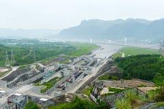 Beskåda av Threet Gorge Dam Royaltyfri Fotografi