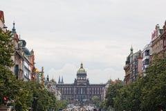 Beskåda av Vatslavskaya kvadrerar i Prague Arkivbilder