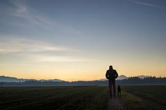 Beskåda bakifrån av en man som går med hans svarta hund på skymning på Fotografering för Bildbyråer
