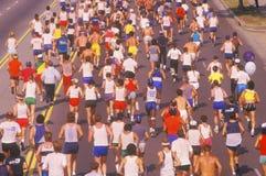 Beskåda bakifrån av gruppen av löpare i den Los Angeles maraton, Los Angeles, CA Fotografering för Bildbyråer