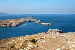 Beskåda från acropolisen Lindos Royaltyfri Foto