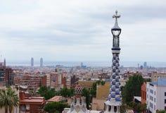 Beskåda från Antoni som Gaudi parkerar Guell, Barcelona Royaltyfri Fotografi