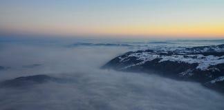 Beskåda från den Rigi alpen på laken Zug Arkivbild