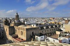 Seville från den Espacio Metropol ett slags solskydd, kvadrerar La Encarnacion Arkivbilder
